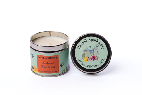 Castell Apothecary Sandalwood and White Musk Candle in a Tin