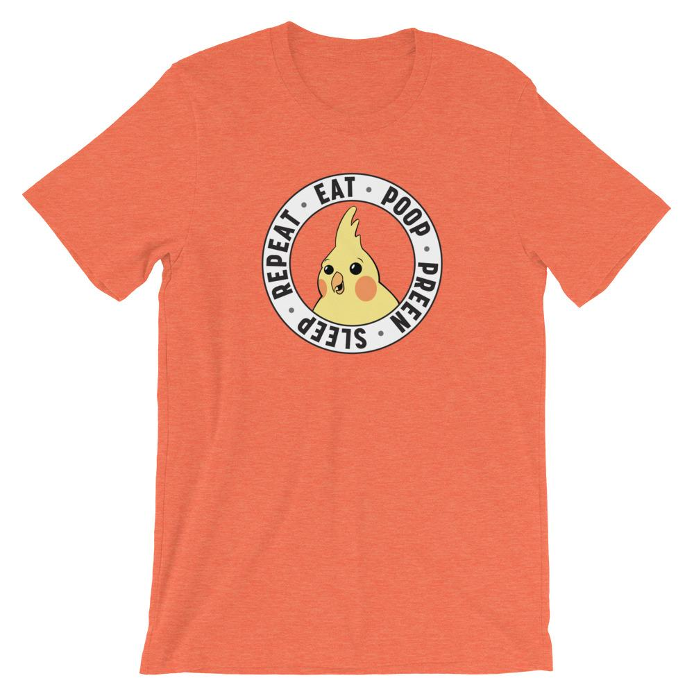 Birdwear Heather Orange / S Eat. Poop. Preen. Sleep Shirt