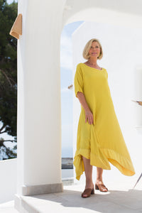 One Life 100% cotton swing dress in yellow
