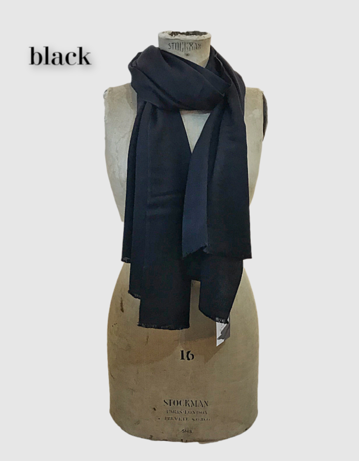 Cocowai silk cashmere pashminas made in nepal black