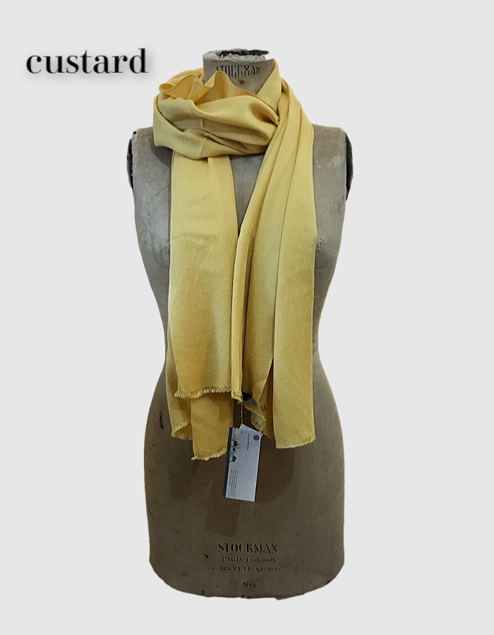 Cocowai silk cashmere pashminas made in nepal mustard yellow