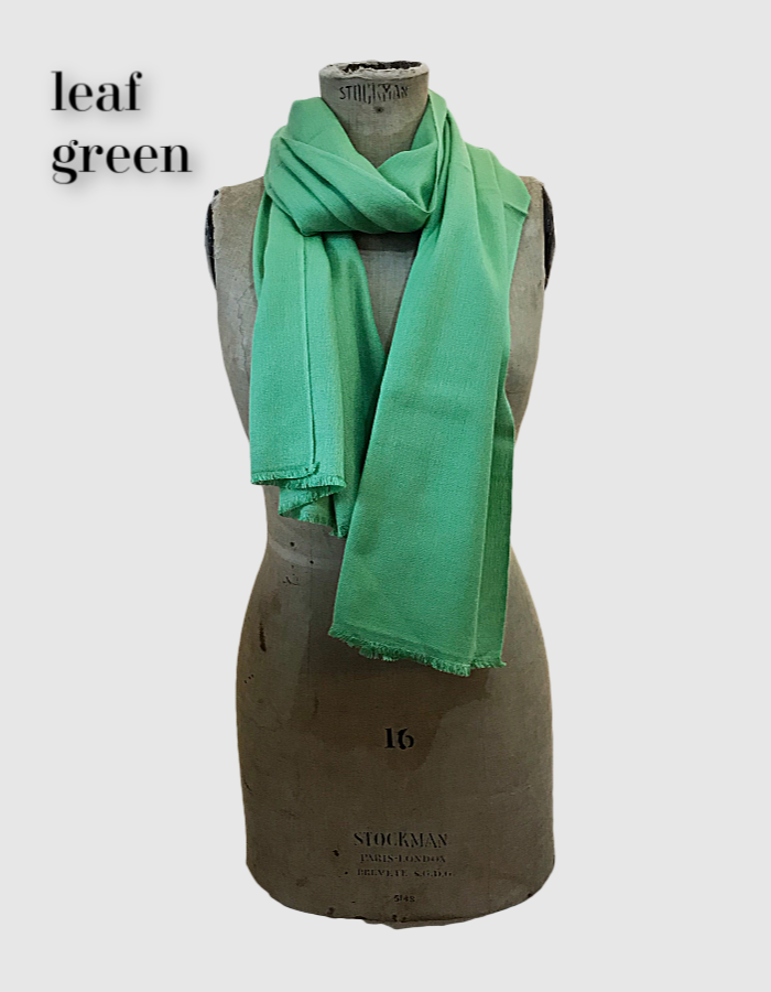 Cocowai silk cashmere pashminas made in nepal leaf green