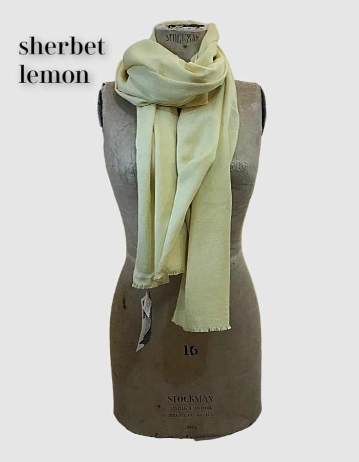 Cocowai silk cashmere pashminas made in nepal sherbet lemon yellow