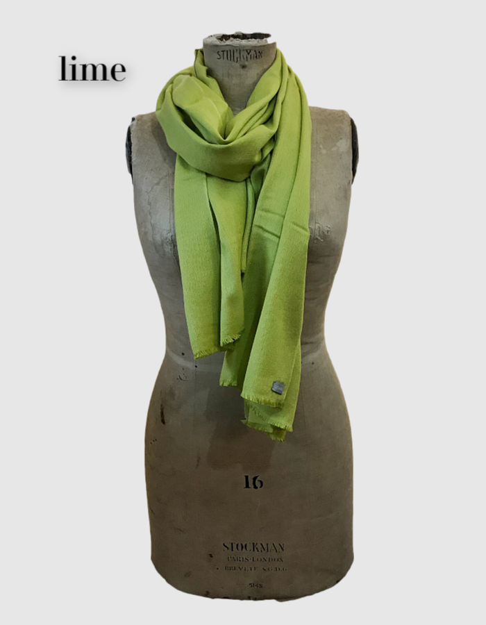 Cocowai silk cashmere pashminas made in nepal lime
