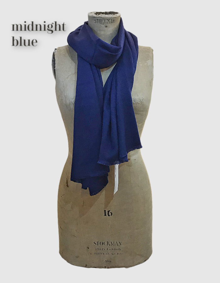 Cocowai silk cashmere pashminas made in nepal midnight blue navy blue
