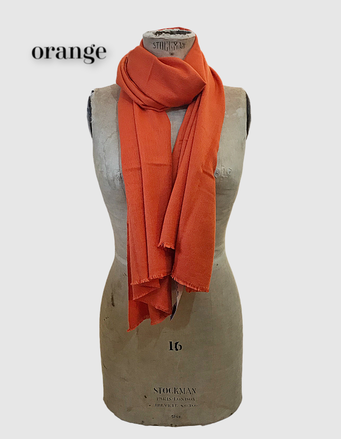 Cocowai silk cashmere pashminas made in nepal orange