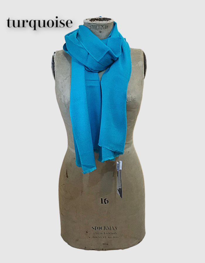 Cocowai silk cashmere pashminas made in nepal turquoise