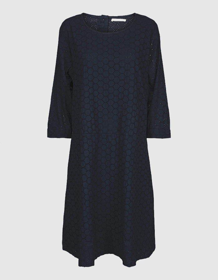 Two danes navy lace cotton drop waist dress with sleeves