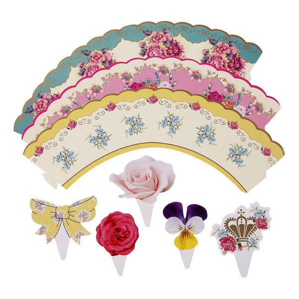 vintage tea floral cake wraps and toppers