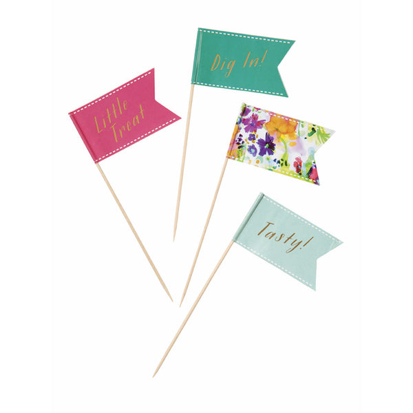 Floral Fiesta food flags