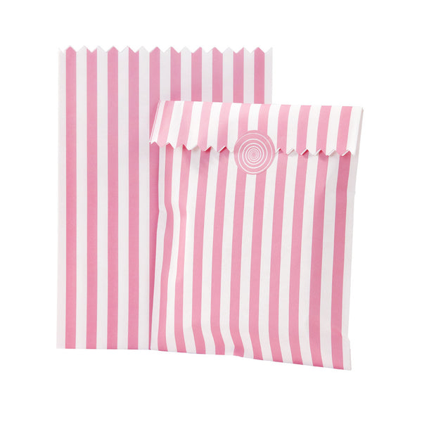 Pink striped treat bags