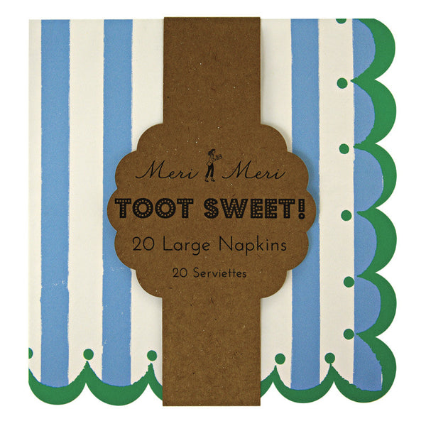Toot Sweet blue stripe napkins small