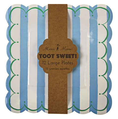 Toot Sweet blue stripe plates large