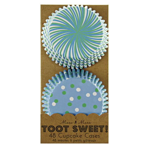 Toot Sweet Blue Patterned Cupcake Cases