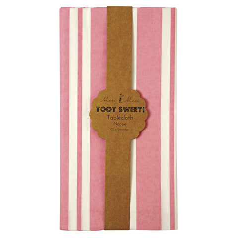 Toot Sweet pink stripe tablecloth