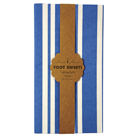 Toot Sweet blue stripe tablecloth