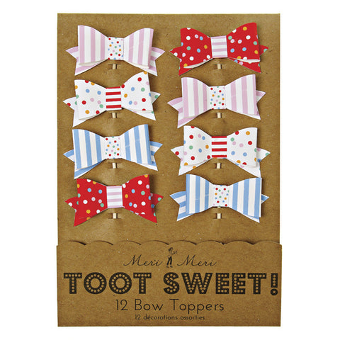 toot sweet bow cake toppers