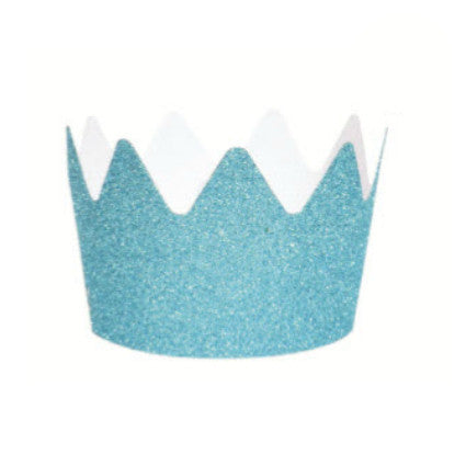 blue glitter party crowns