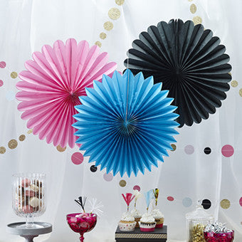 YUM! Pink, blue & black hanging paper fans