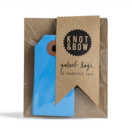 Knot & Bow parcel tags - blue