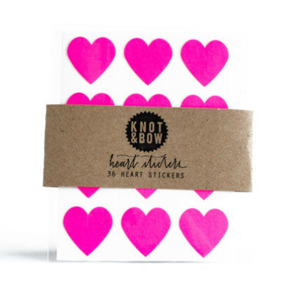 36 neon pink heart stickers