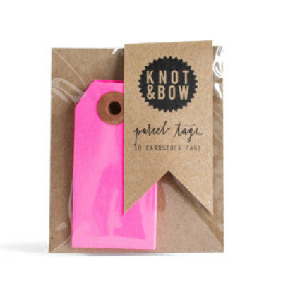 Knot & Bow parcel tags - neon pink