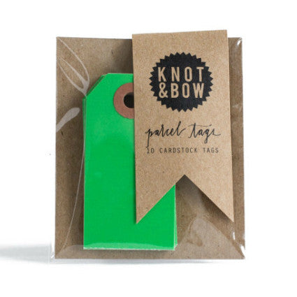 Knot & Bow parcel tags - green