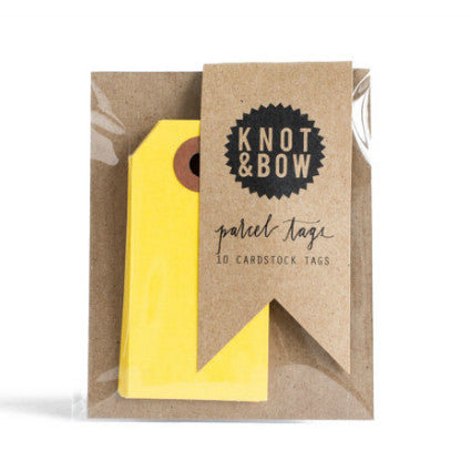 Knot & Bow parcel tags - yellow