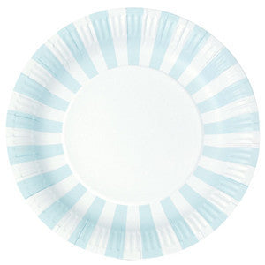 Powder blue stripe plates