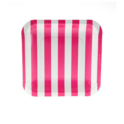 rasberry stripe plates