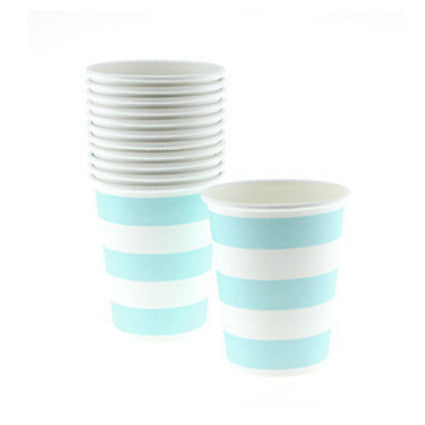 pale blue candy stripe party paper cups