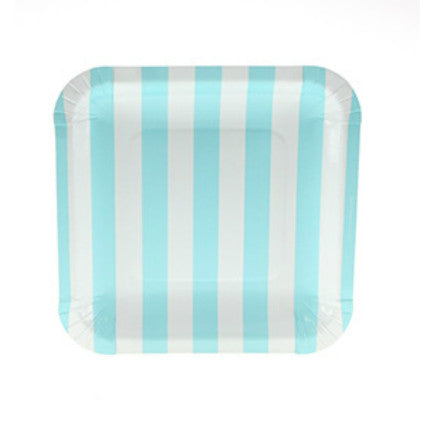 pale blue candy stripe square paper plates