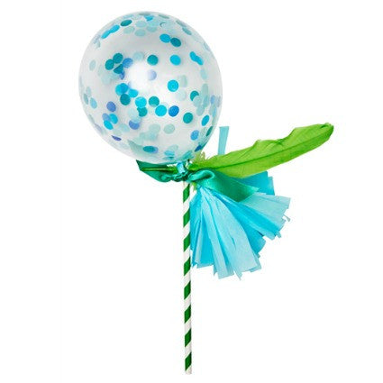 blue and green confetti balloon wand