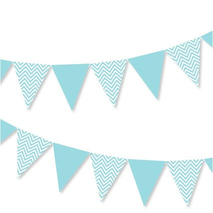 blue chevron party bunting