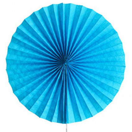 turquoise blue tissue paper fan