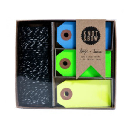 Knot & Bow tag and twine box set - black, silver and cool neon