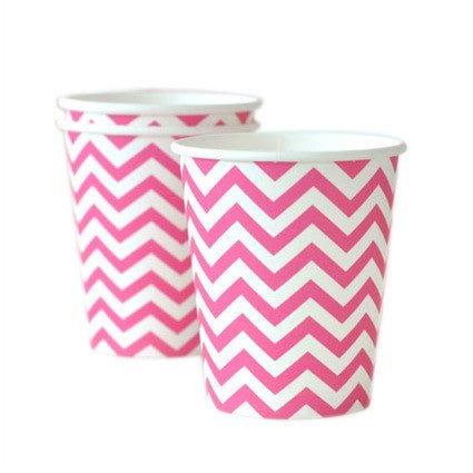 Hot pink chevron cups