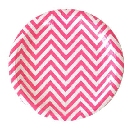 large hot pink chevron plates
