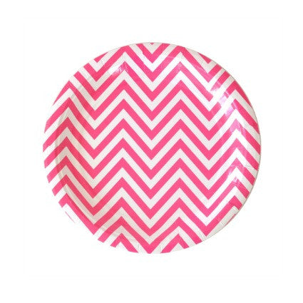 small hot pink chevron party plates