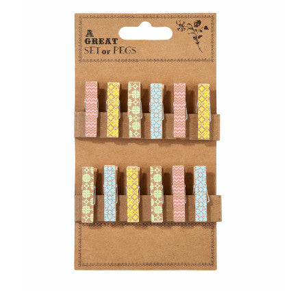 colourful mini wooden pegs