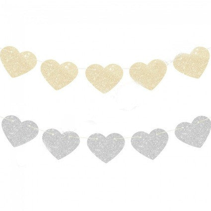 silver and gold glitter heart garland