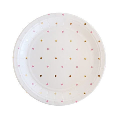 pink and gold spots dessert plate