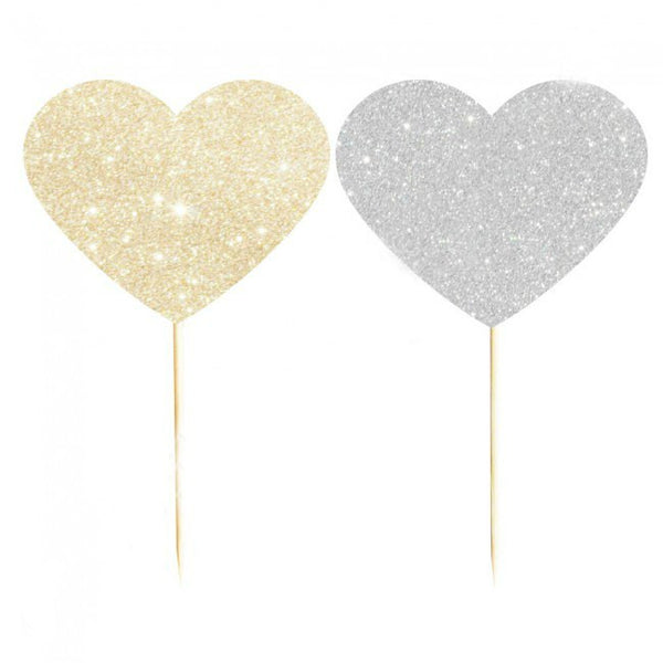 gold and silver glitter heart cupcake picks
