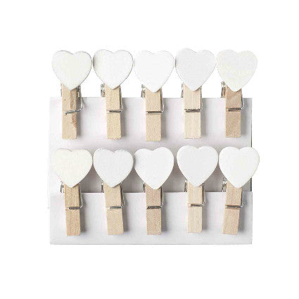 white heart mini wooden pegs