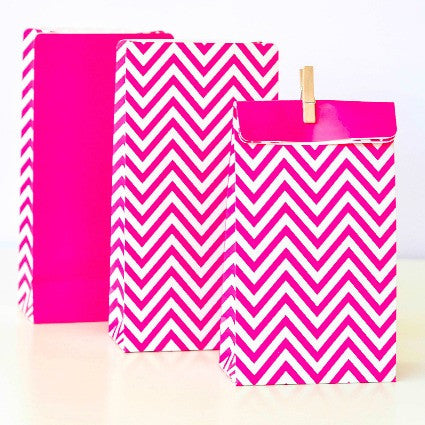 Hot pink chevron party bags