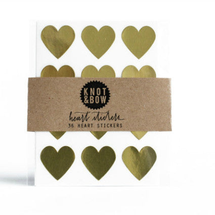 36 gold heart stickers/labels
