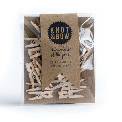 knot & bow mini wooden pegs