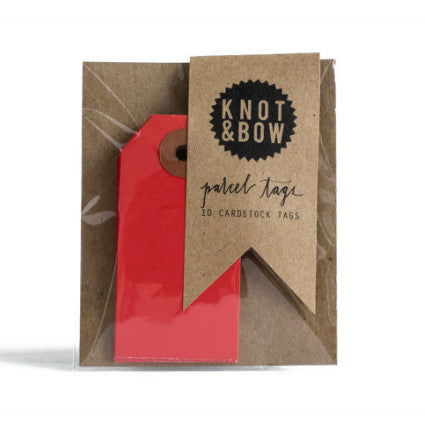 Knot & Bow parcel tags - cherry red