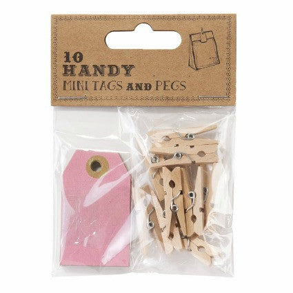 Mini pink tags and pegs