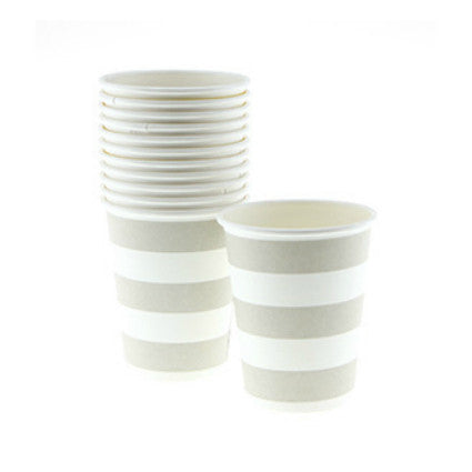 Natural candy stripe cups for baby showers